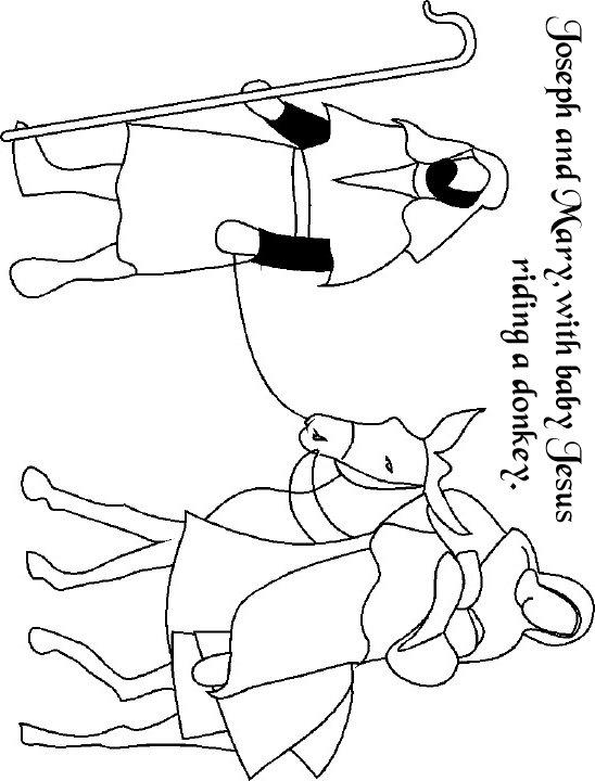 Mary & Joseph with Jesus, Mary riding a donkey.