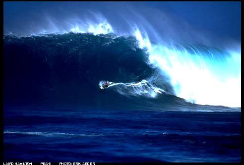 Shit! Laird Hamilton displays awesome control at Jaws.