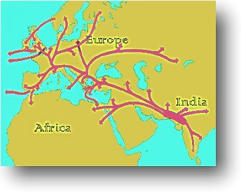Map of migration routes from India to Asia, Africa and Europe.